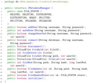 IMetadataManager interface